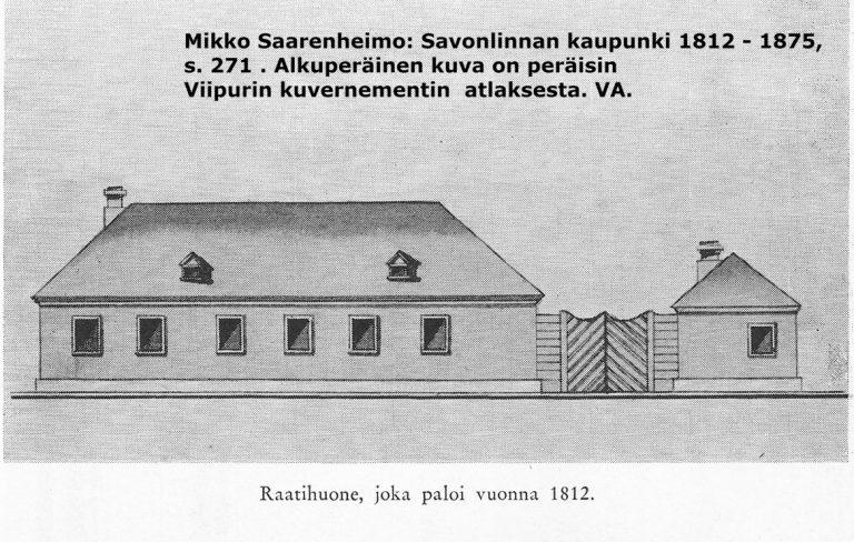 Harmaasävypiirros Olavinkadulla vuoteen 1812 sijainneen raatihuoneen julkisivusta.