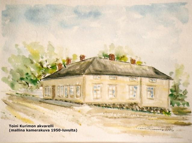 Toini Kurimon väriakvarelli Linnankadulla sijainneesta raatihuoneesta.