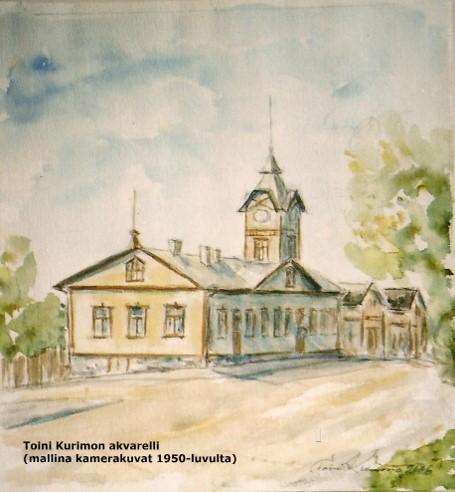 Toini Kurimon väriakvarelli Olavinkadun ja nykyisen Kalmarinkadun kulmassa sijainneesta raatihuoneesta.