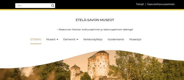 Ruudunkaappaus etelasavonmuseot-fi-sivuston uudistetulta pääsivulta, jonka kuvassa näkyy Olavinlinna.